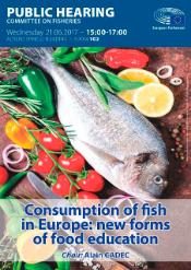 Poster for Public Hearing on Consumption of fish in Europe. Fish on a chopping board with vegetables