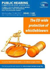 "PANA/JURI Joint hearing on ""The EU-wide protection of whistleblowers"" of 21 June 2017"