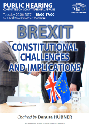 Image of the poster for the Brexit Hearing on the Constitutional Challenges and Implications