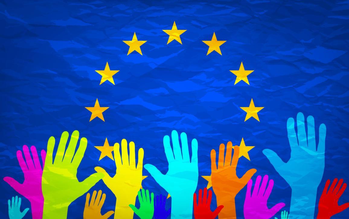 raised hands, EU flag