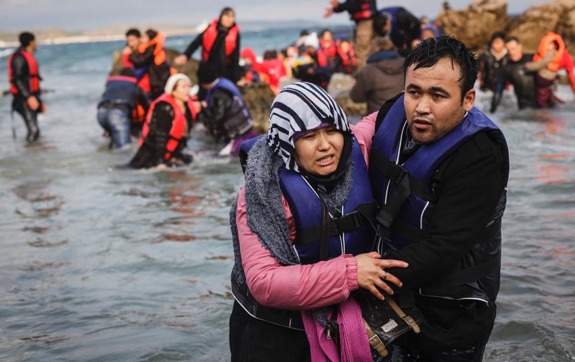 Llegada de migrantes afganos a Lesbos desde Turquía.©UNHCR/Achilleas Zavallis.