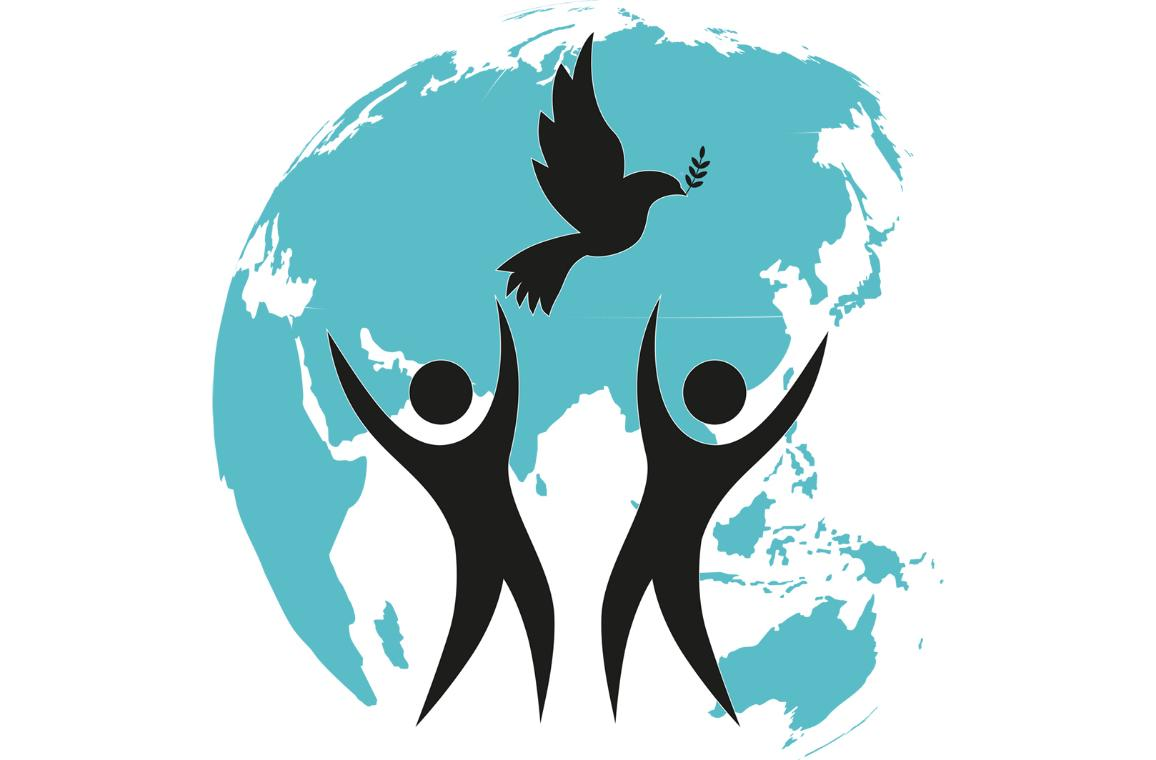 Een wereldbol met twee mensen en een vredesduif