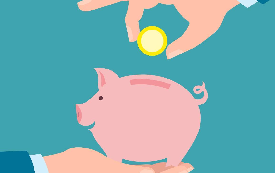 Ilustración que muestra una mano a punto de introducir una moneda en una hucha con forma de cerdito.
