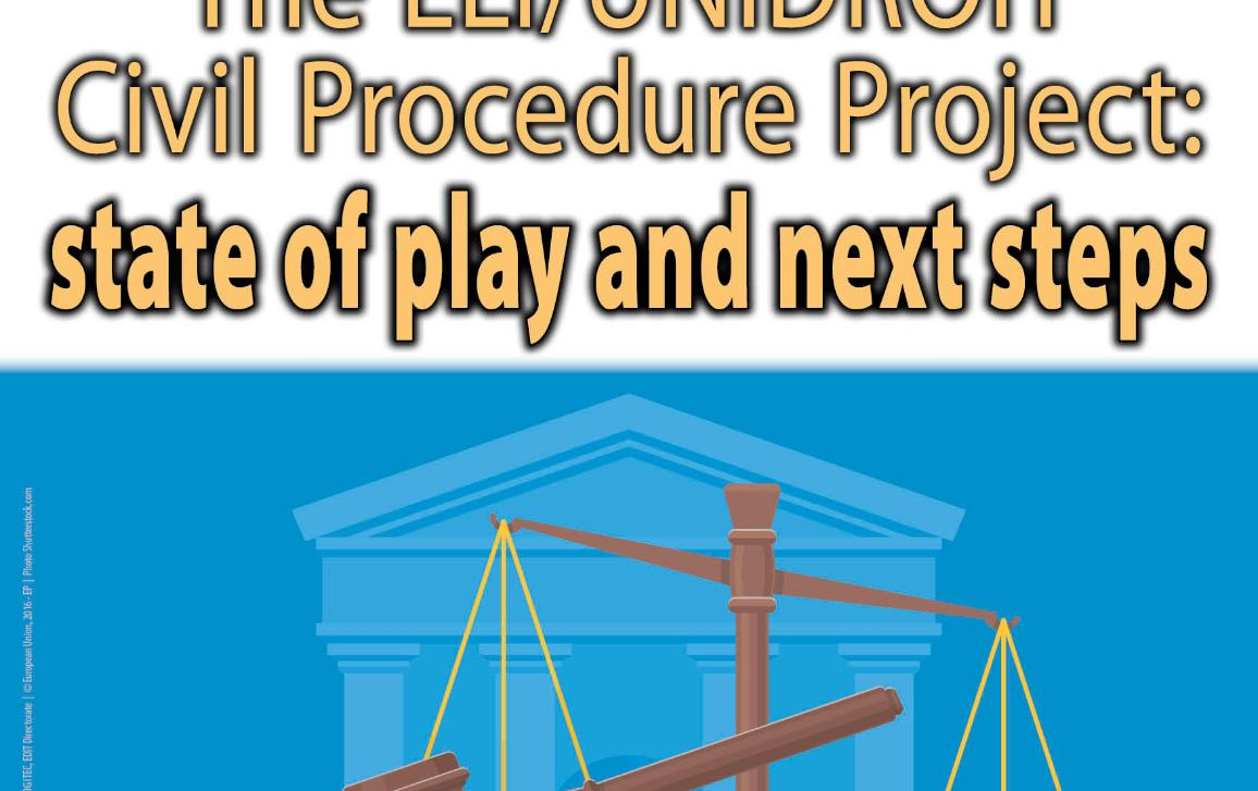 In the upper third of the poster, there is logo of the Parliament in the right corner and the timing/location of the hearing. The background is dark red. In the middle of the poster there is the title of the hearing. The background is white. In the lower third, there is a court building, books and justice scales. The background is blue.