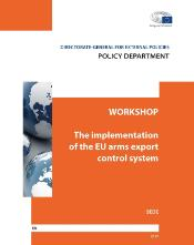 Cover page of workshop report on the implementation of the EU arms export control system