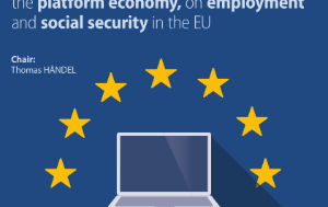 Image of a laptop on the European flag
