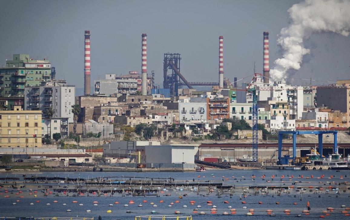 Tamburi neighborhood of Taranto showing pollution from the plant
