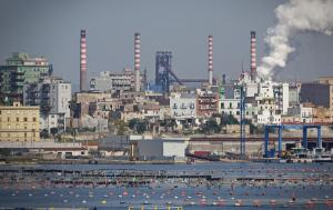 Tamburi neighborhood of Taranto showing pollution from the plant