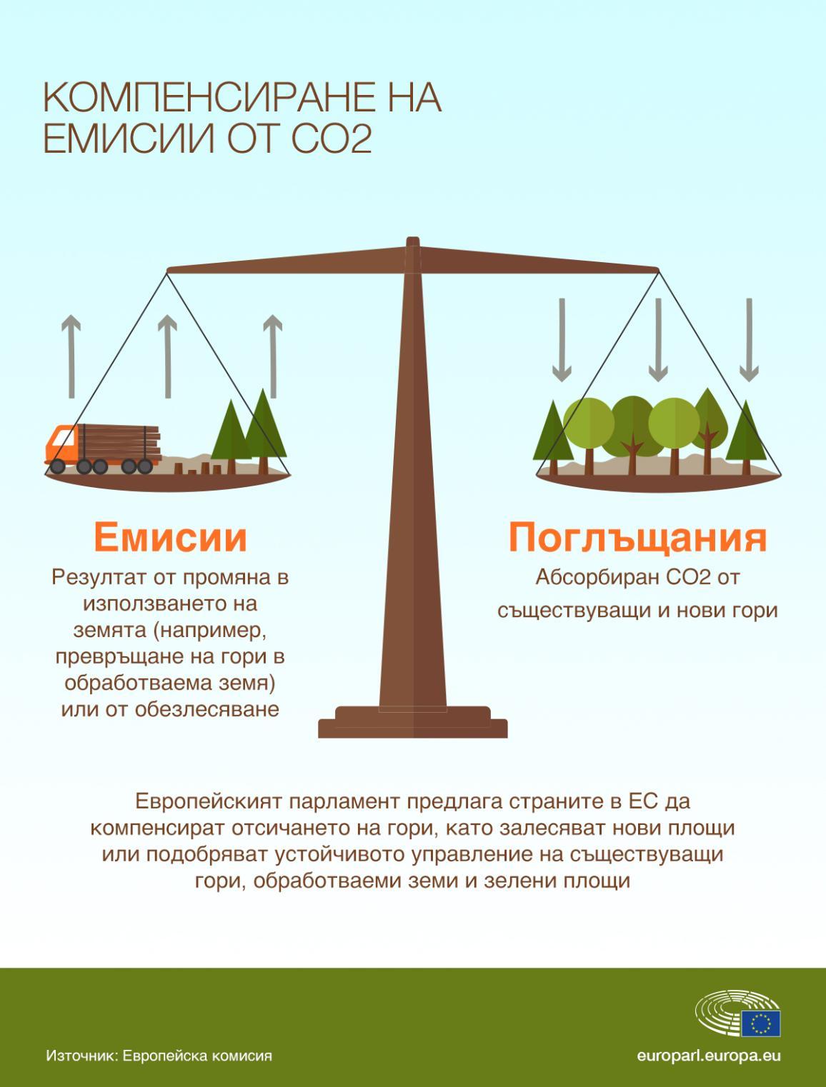 Инфографика: Компенсиране на емисии от СО2