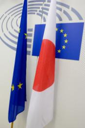 EU and Japan flags with EP logo in the background