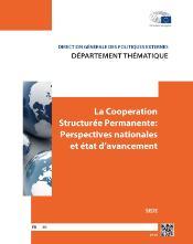 page de garde de l`étude la Coopération Structurée Permanente, perspectives nationales et état d'avancement