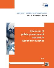 "cover page of the study with white title on the orange background ""Openness of public procurement markets in key third countries"""