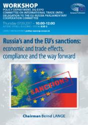 Image of EU and Russian flags with the word Sanctions written across in red letters