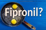 Scrambled eggs in a frying pan and the inscription fipronil