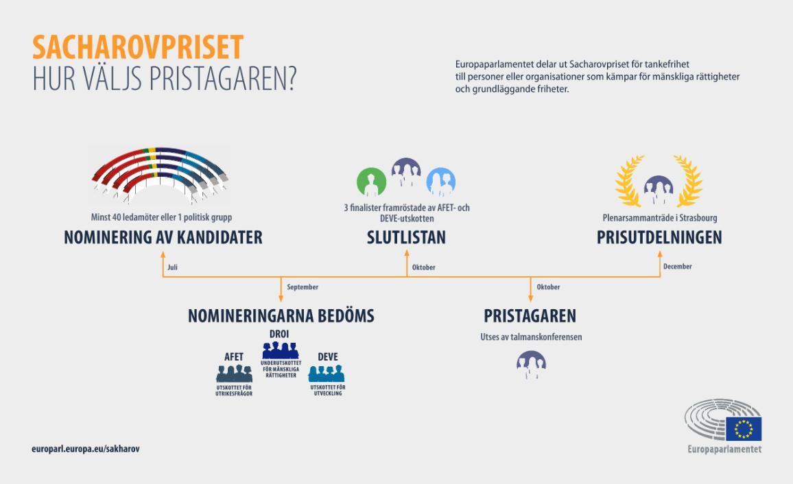 Grafikbild som beskriver processen av hur  Sacharovprisets vinnare utses.