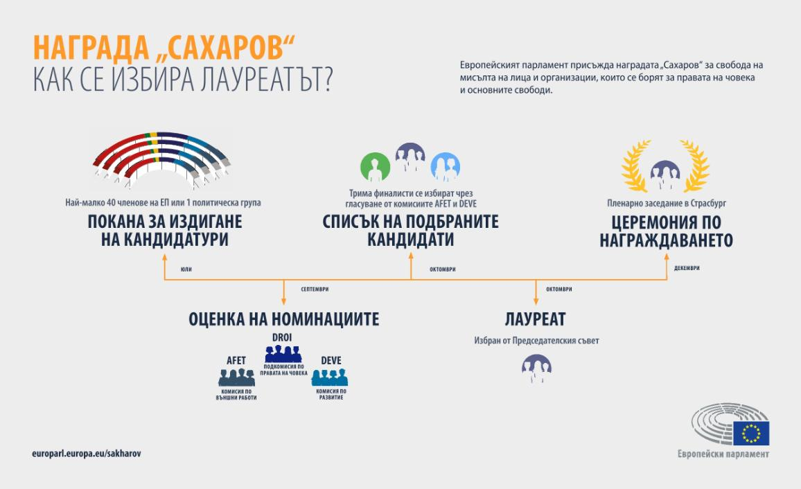 """Инфографика: Процедурата за избор на носителя на награда """"Сахаров"""""""