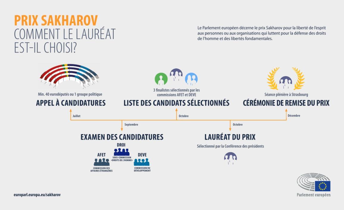 Infographie expliquant les étapes du Prix Sakharov, de l'appel à candidatures à la cérémonie de remise du prix