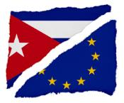 Torn Cuban and EU Flags