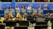 Nathalie Griesbeck (ALDE, FR) and vice-chairs during the first meeting of the committee