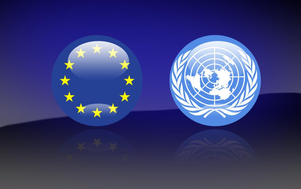 European Union and United Nations flags