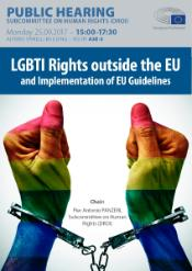 Poster of The Rights of LGBTI people outside the EU: public hearing