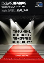 "Pana public hearing on ""Tax-planning, do celebrities and companies breach EU law?"" - 26 September 2017"