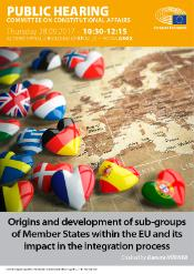 Poster for hearing on 'Origins and development of sub-groups of Member States within the EU and its impact in the integration process' with picture of a map of Europe and Member State flags