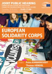 Poster for the joint hearing EMPL/CULT on European Solidarity Corps