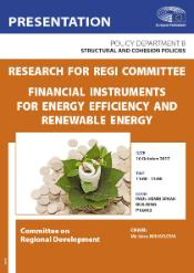 Poster of a Presentation - Research for REGI Committee on Financial instruments for energy efficiency and renewable energy, Committee on Regional Development
