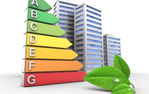 Energy performance rate, buildings and green leaves
