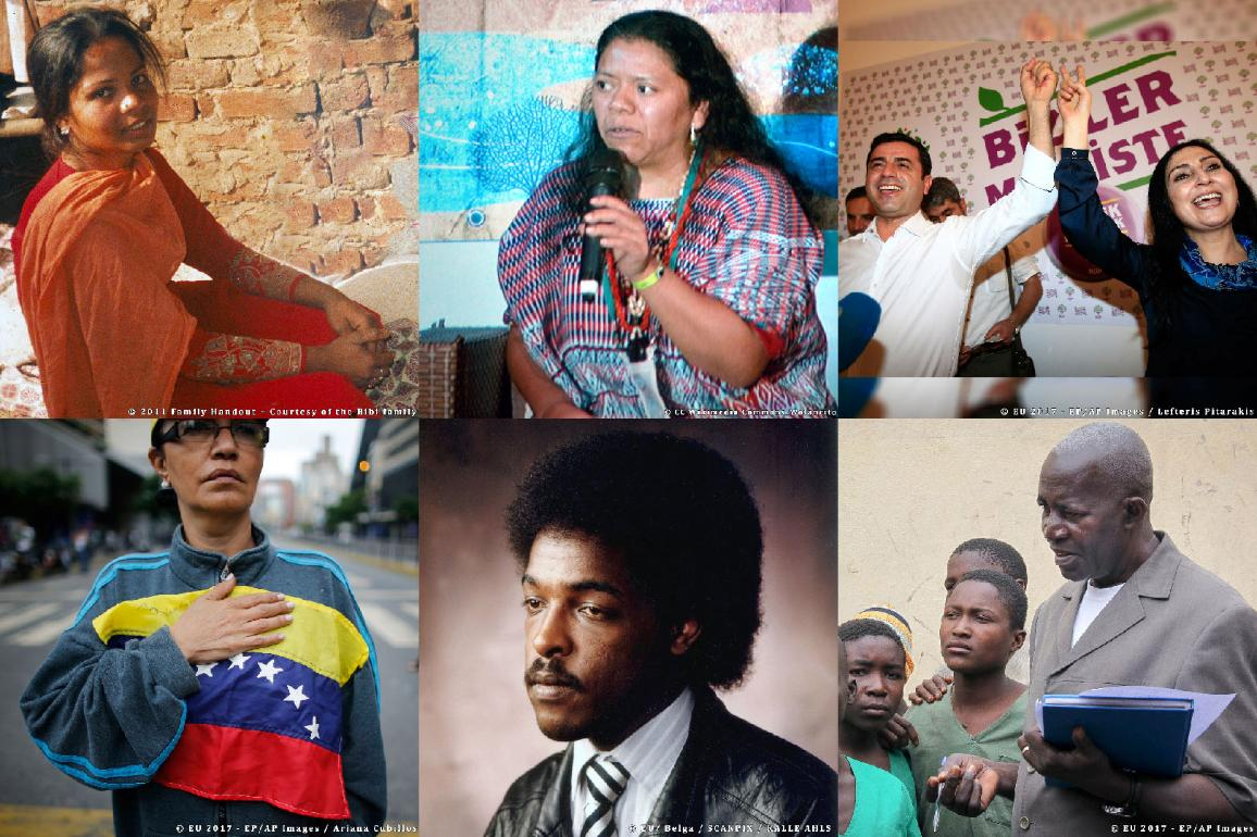 Mosaïque composée des photos des nominés au Prix Sakharov 2017