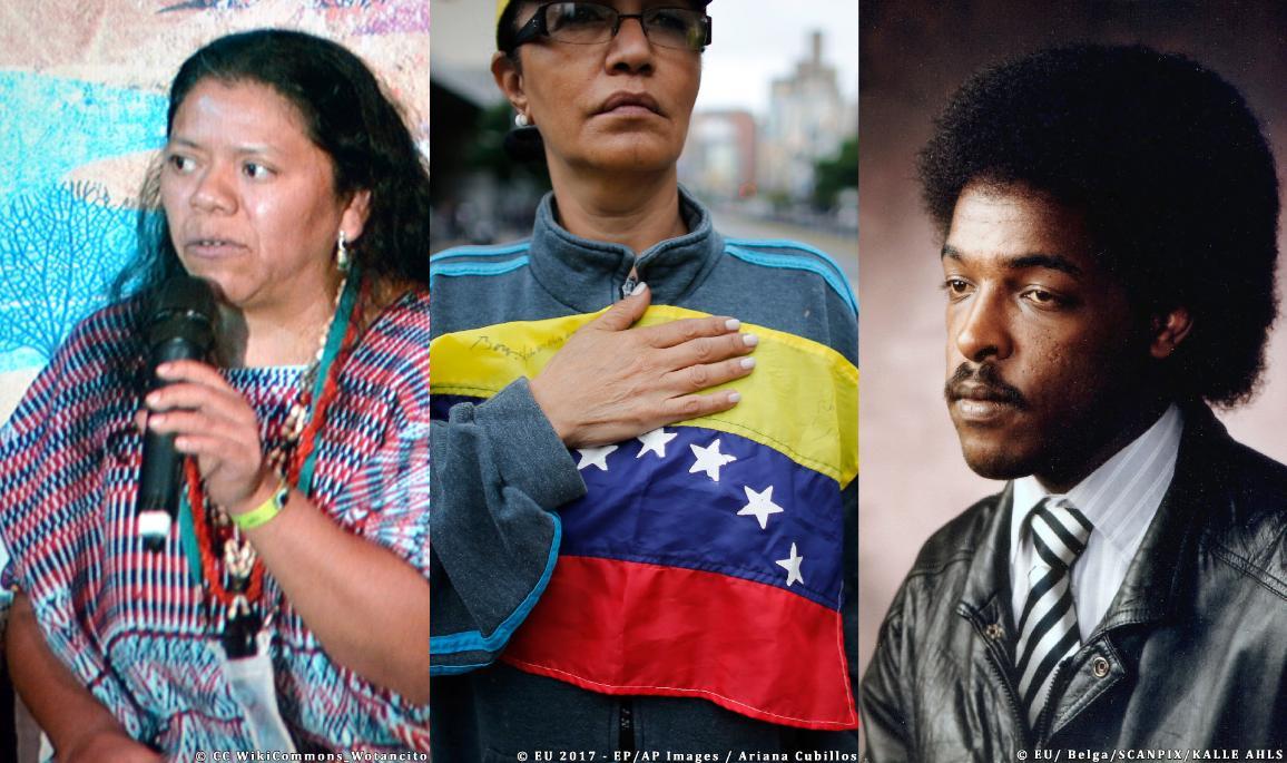 Aura Lolita Chavez Ixcaquic, la oposición democrática en Venezuela y Dawit Isaak (de izquierda a derecha).