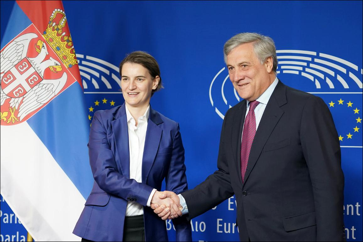 European Parliament President Antonio Tajani with the Prime Minister of Serbia Ms Ana Brnabić
