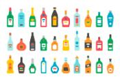 Flat design alcohol bottles set illustration vector