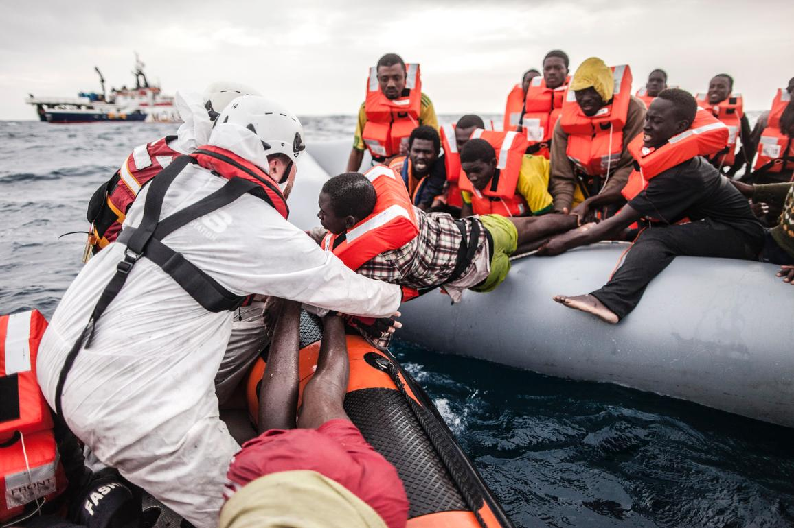 On 24 November 2016, the Phoenix rescue vessel, belonging to Migrant Offshore Aid Station (MOAS) intercepted an inflatable vessel carrying 146 refugees and migrants who had travelled from West African countries to Libya, and attempted to cross the sea to Europe. Their boat was seriously overloaded and in danger of sinking, four hours into their dangerous sea voyage from the port of Sabratha, on Libya's northern coastline. ©UNHCR/Giuseppe Carotenuto