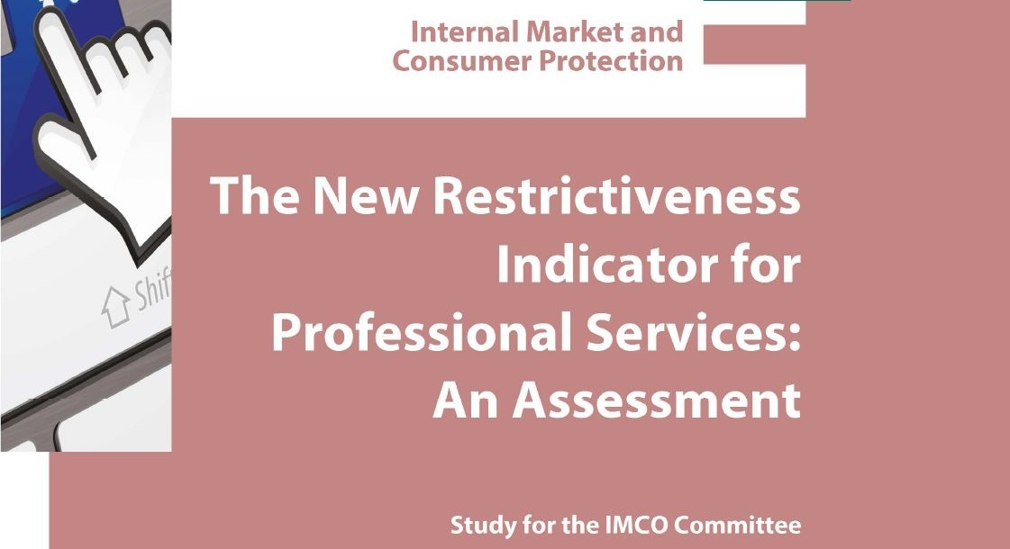 Front page of the study on the New Restrictiveness Indicator for Professional Services: an assessment