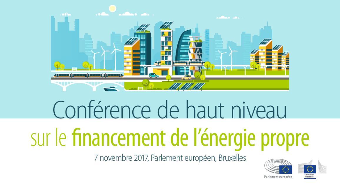 poster de la conférence sur le financement de l'énergie propre au Parlement européen