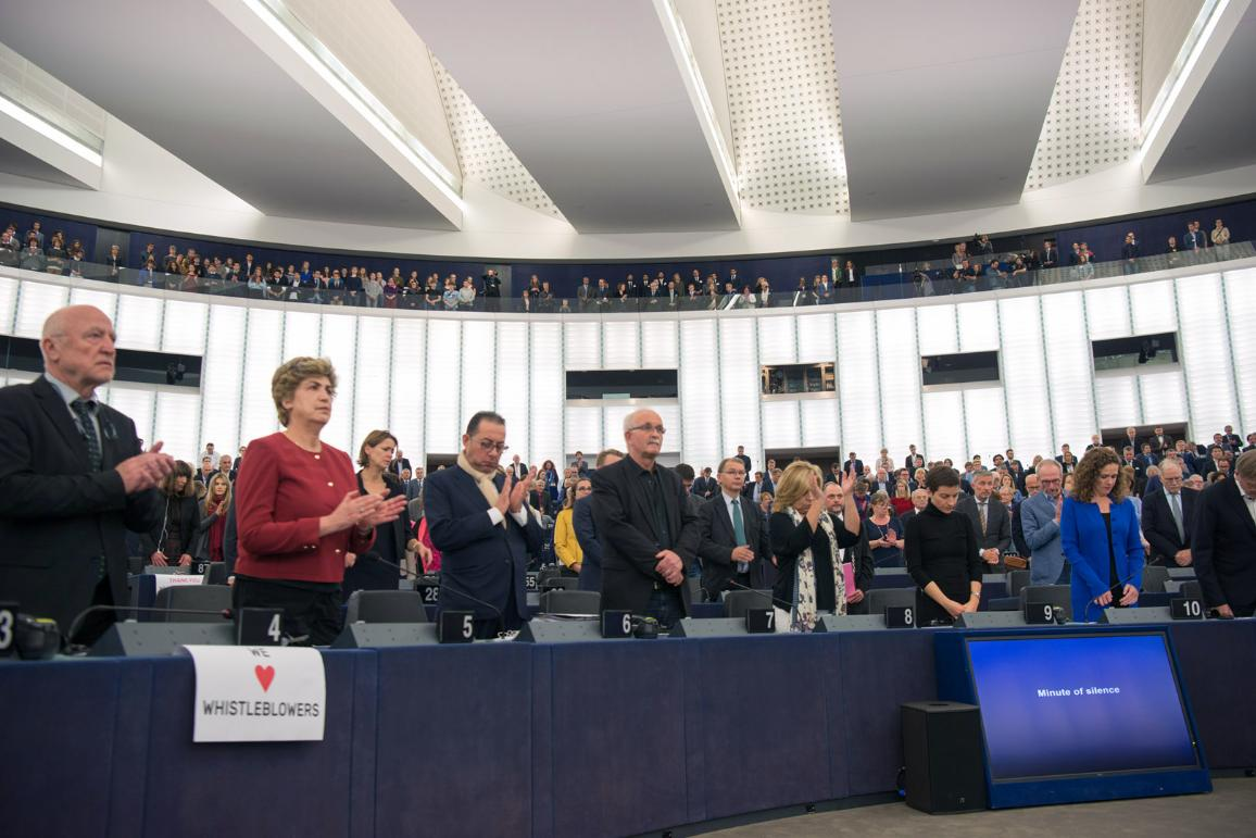 MEPs fall silent to honour the of murdered Maltese journalist Daphne Caruana Galizia