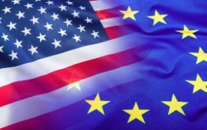 An image of the US flag and EU flag