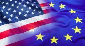An image of the US flag and EU flag
