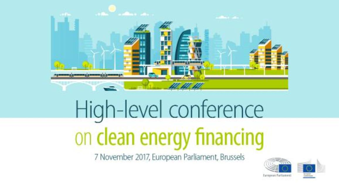 Banner of High-level conference on clean energy financing