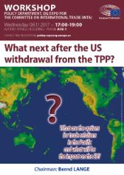 """Map image of continents and Pacific ocean with the title of the hearing in the middle """"What are the options for trade relations in the Pacific"""""""