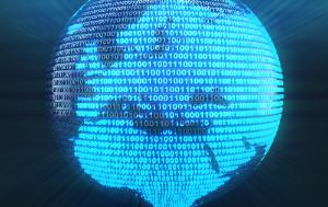 Europe map on globe formed by binary code, 3d render