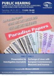 "PANA Public hearing on ""The Paradise Papers - What are they about and why are they relevant"" - 28 November 2017"