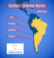 Map image of the Latin American countries forming Mercosur