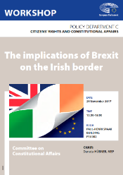Poster for the workshop on The implications of Brexit on the Irish border, showing the UK, Irish and EU flags