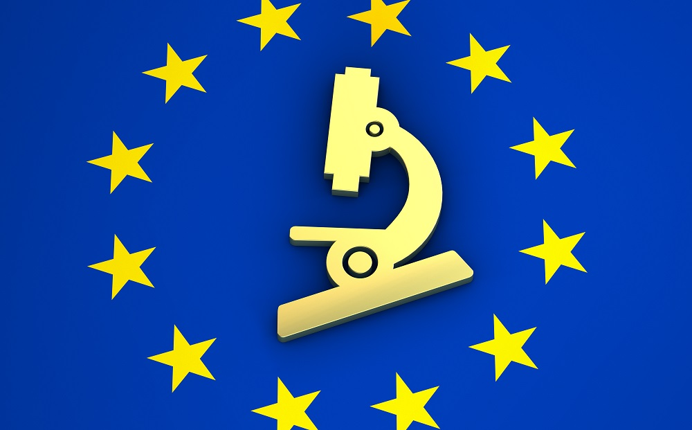 EU flag and microscope icon symbol