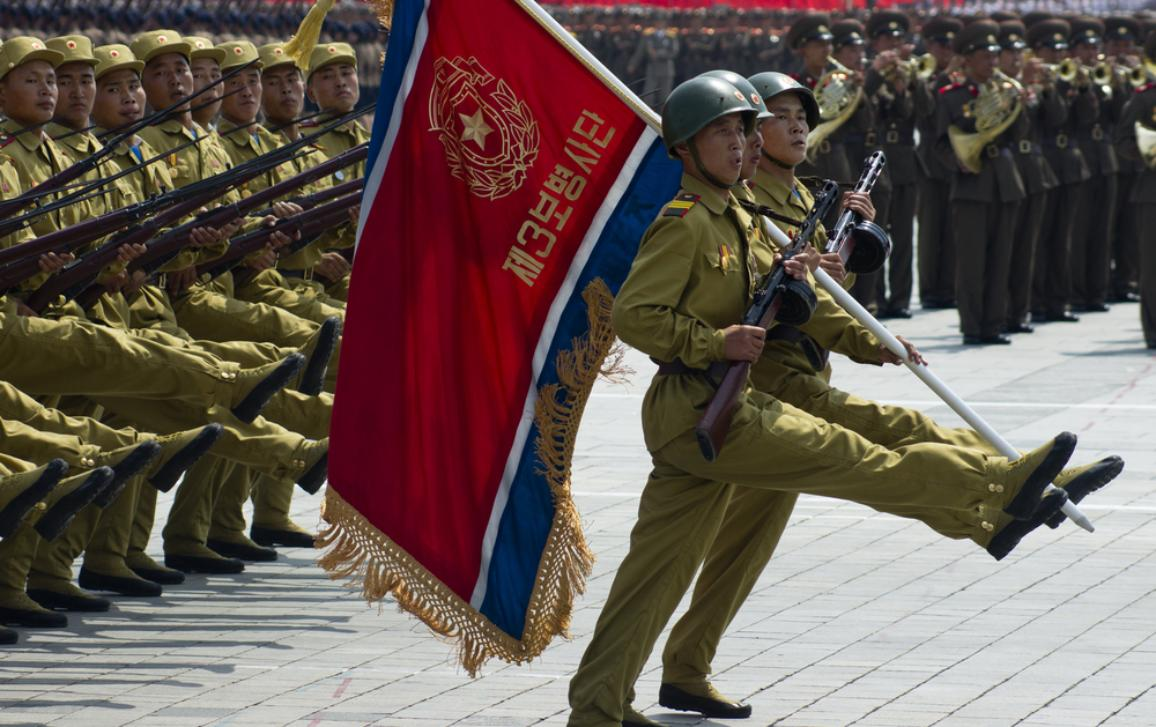 North Korean soldiers at a military parade in Pyongyang