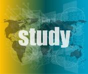 study word on digital touch screen interface with world map