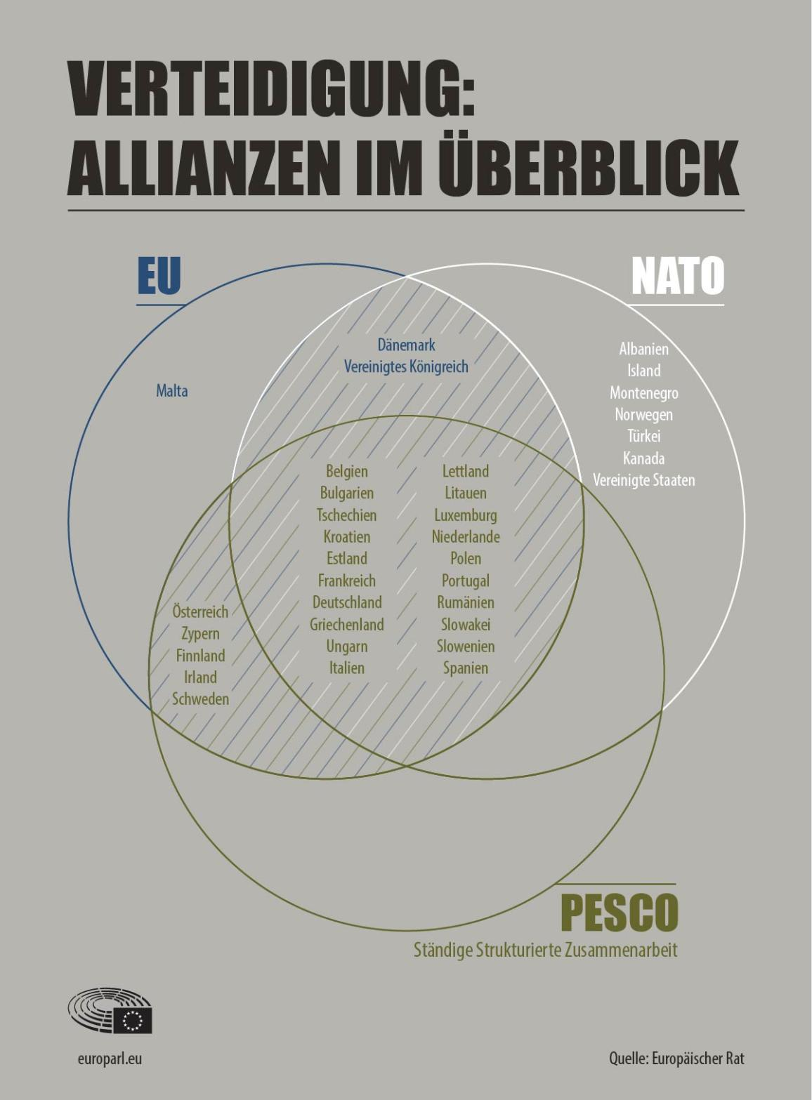 Die Infographik zeigt die Verteidigungszusammenarbeit und Allianzen im Überblick